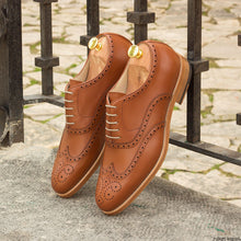 Load image into Gallery viewer, Tan Leather Formal Oxford Wingtip Brogue Lace Up Shoes for Men with Leather Sole. Goodyear Welted Construction Available.