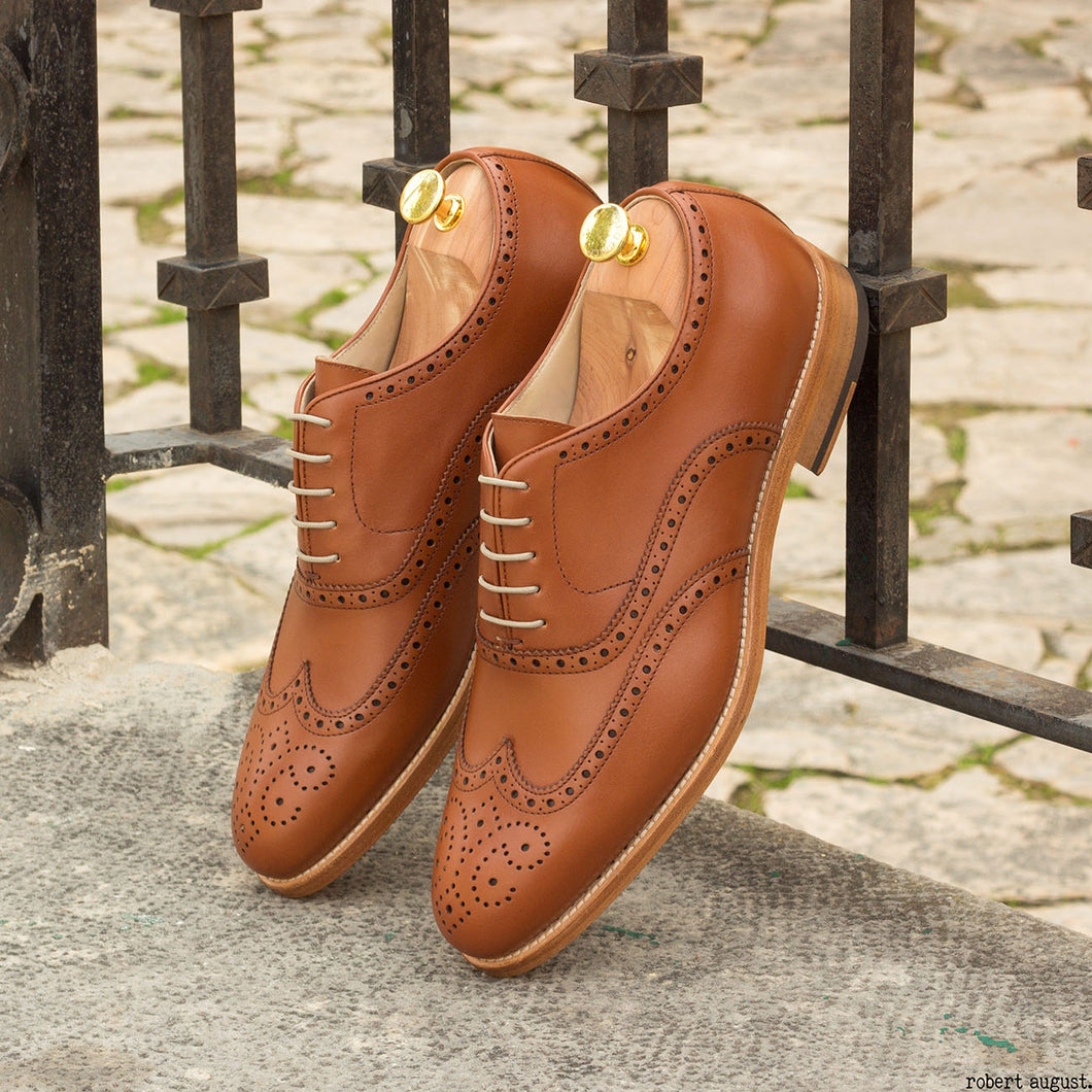 Tan Leather Formal Oxford Wingtip Brogue Lace Up Shoes for Men with Leather Sole. Goodyear Welted Construction Available.