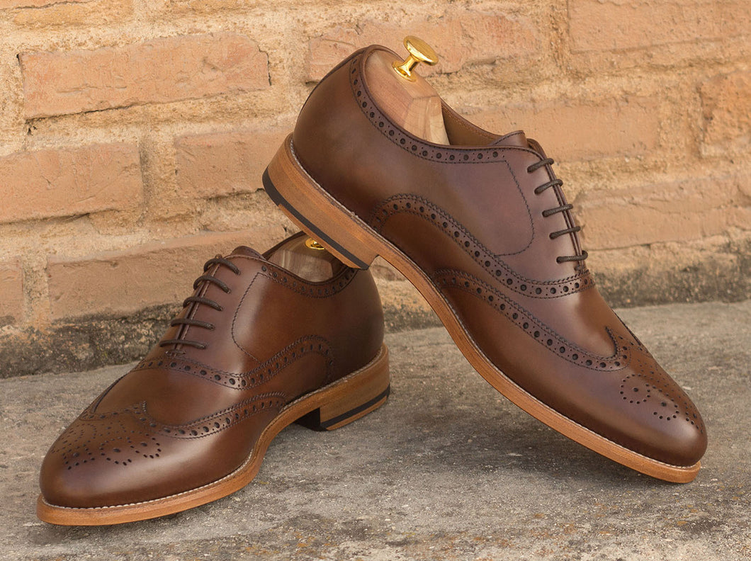 Dark Brown Leather Formal Oxford Wingtip Brogue Lace Up Shoes for Men with Leather Sole. Goodyear Welted Construction Available.