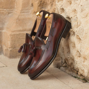 Burgundy Leather Patina Finish Formal Tassel Loafer Slip On Shoes for Men with Leather Sole. Goodyear Welted Construction Available.