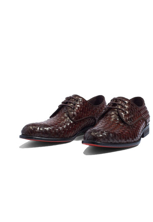 Dark Brown Leather Braided Woven Formal Derby Lace Up Shoes for Men with Leather Sole. Goodyear Welted Construction Available.