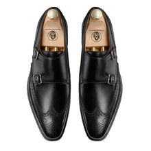Load image into Gallery viewer, Black Leather Wingtip Brogue Formal Double Monk Strap Buckle Shoes for Men with Leather Sole. Goodyear Welted Construction Available.