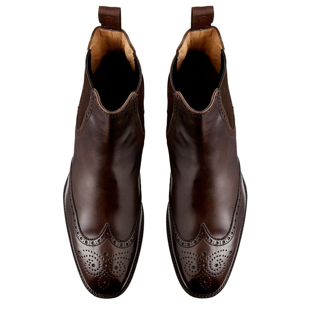 Brown Leather Formal Wingtip Brogue Chelsea Boot Slip On Shoes for Men with Leather Sole. Goodyear Welted Construction Available.