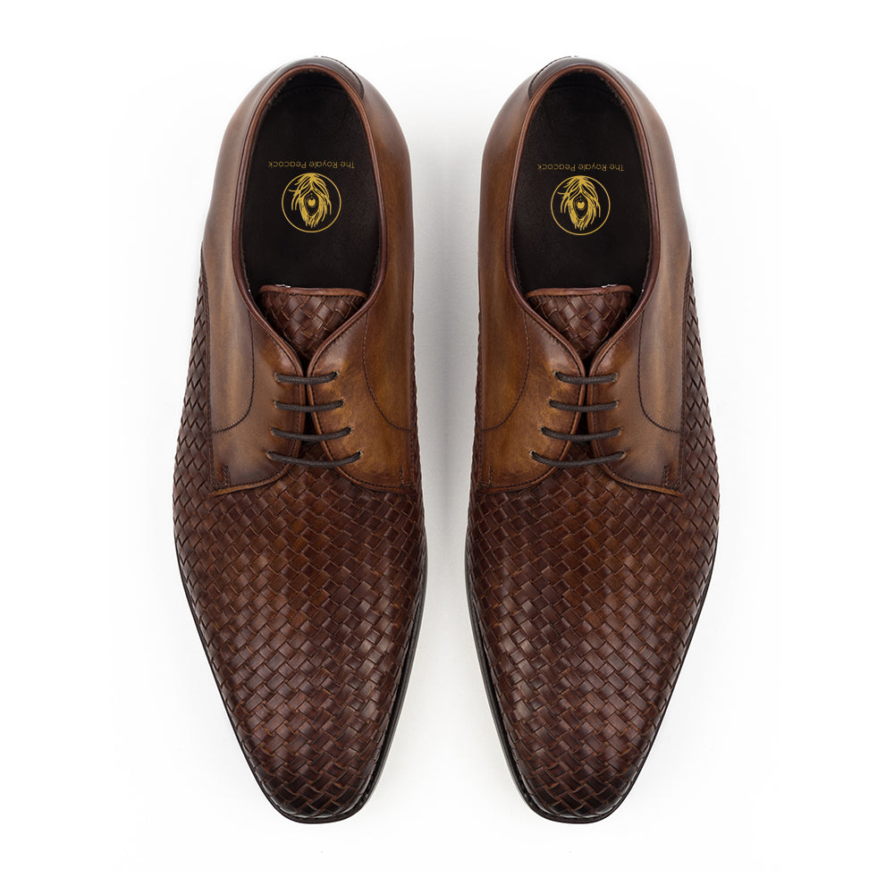 Brown Leather Braided Woven Formal Derby Lace Up Shoes for Men with Leather Sole. Goodyear Welted Construction Available.
