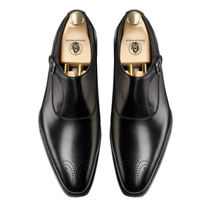 Black Leather Brogue Formal Single Monk Strap Buckle Shoes for Men with Leather Sole. Goodyear Welted Construction Available.