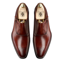 Load image into Gallery viewer, Brown Leather Brogue Formal Single Monk Strap Buckle Shoes for Men with Leather Sole. Goodyear Welted Construction Available.