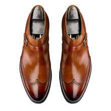 Load image into Gallery viewer, Tan Leather Formal Wingtip Brogue Buckle Slip On Boot Shoes for Men with Leather Sole. Goodyear Welted Construction Available.