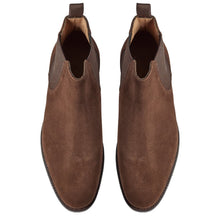 Load image into Gallery viewer, Brown Suede Leather Formal Chelsea Boot Slip On Shoes for Men with Leather Sole. Goodyear Welted Construction Available.