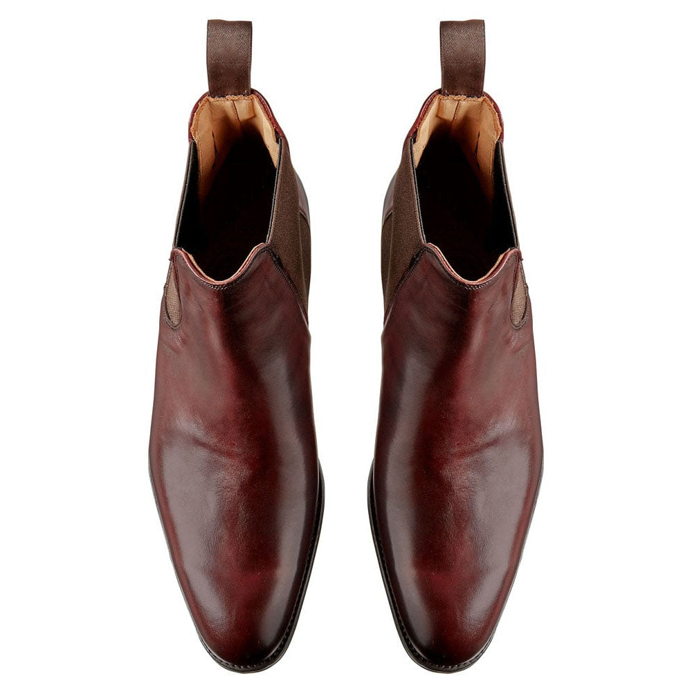 Burgundy Ox Blood Red Leather Formal Chelsea Boot Slip On Shoes for Men with Leather Sole. Goodyear Welted Construction Available.