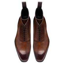 Load image into Gallery viewer, Tan Brown Leather Formal Lace Up Boot Shoes for Men with Leather Sole. Goodyear Welted Construction Available.
