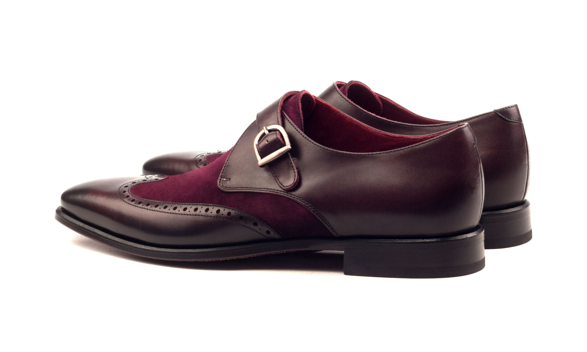 Burgundy Suede Leather Formal Wingtip Brogue Single Monk Strap Buckle Shoes for Men with Leather Sole. Goodyear Welted Construction Available.