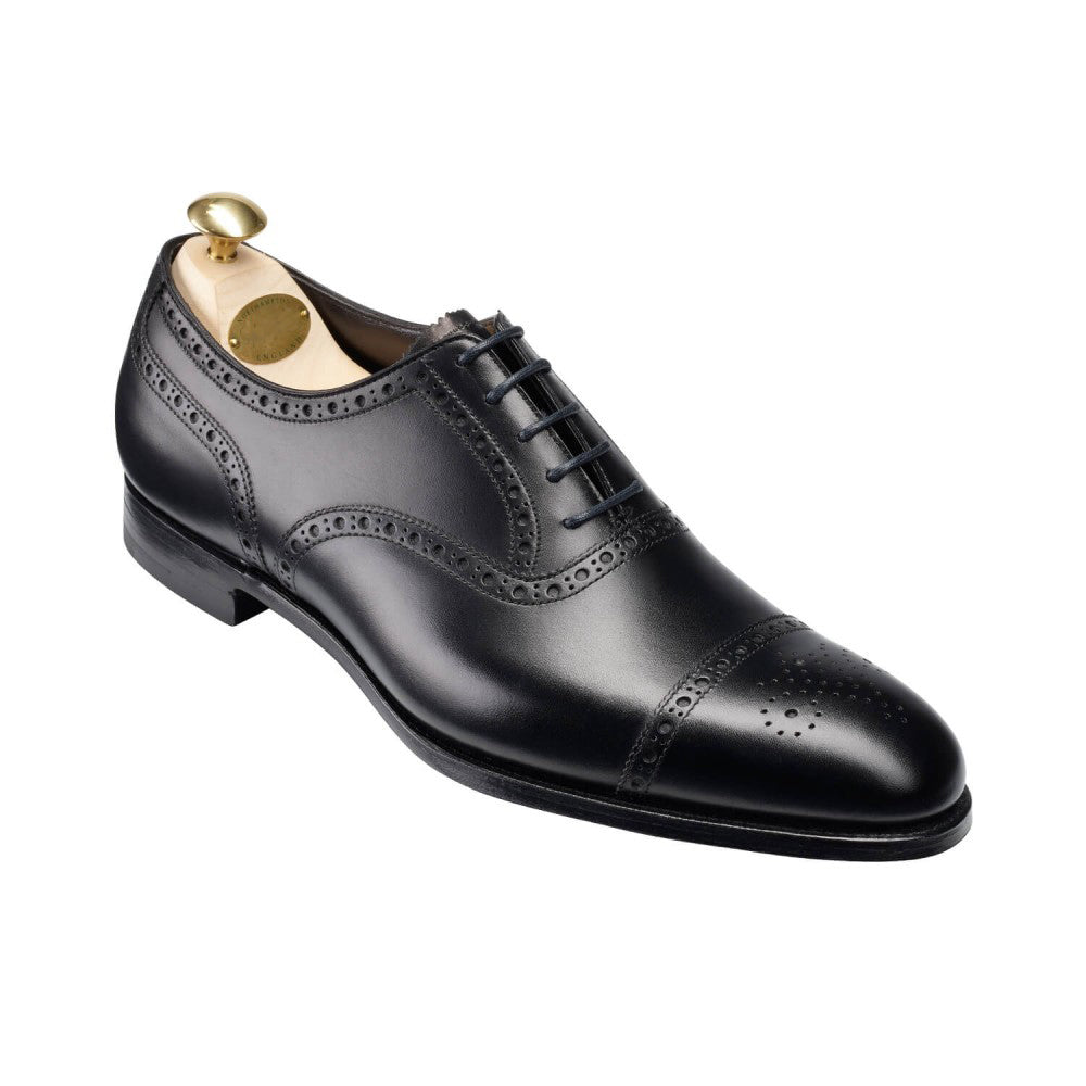 Black Leather Formal Toe Cap Brogue Oxford Lace Up Shoes for Men with Leather Sole. Goodyear Welted Construction Available.