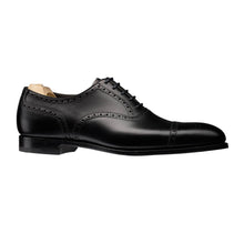 Load image into Gallery viewer, Black Leather Formal Toe Cap Brogue Oxford Lace Up Shoes for Men with Leather Sole. Goodyear Welted Construction Available.