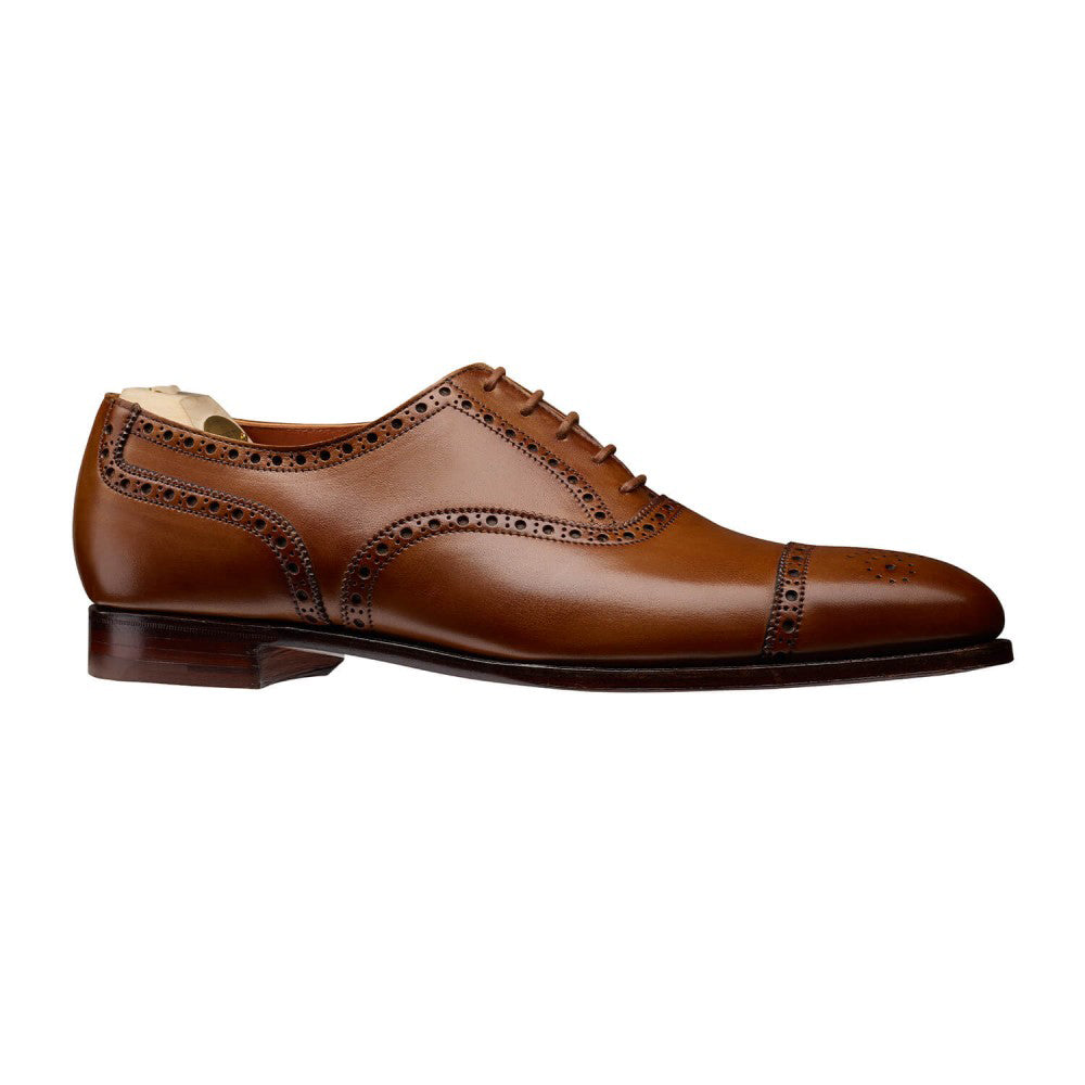 Tan Leather Formal Toe Cap Brogue Oxford Lace Up Shoes for Men with Leather Sole. Goodyear Welted Construction Available.