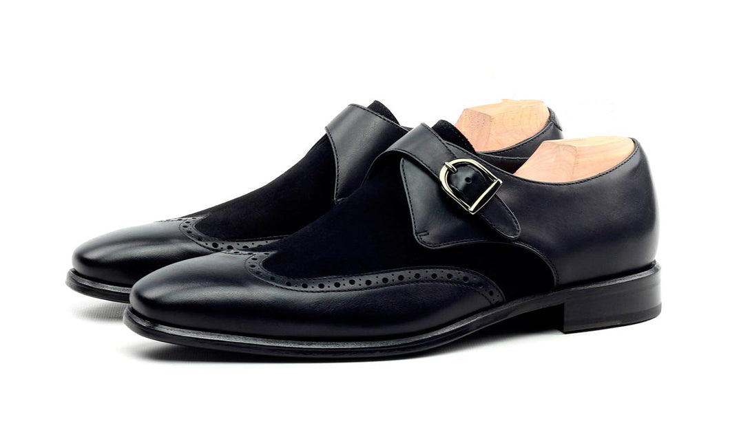 Black Suede Leather Formal Wingtip Brogue Single Monk Strap Buckle Shoes for Men with Leather Sole. Goodyear Welted Construction Available.