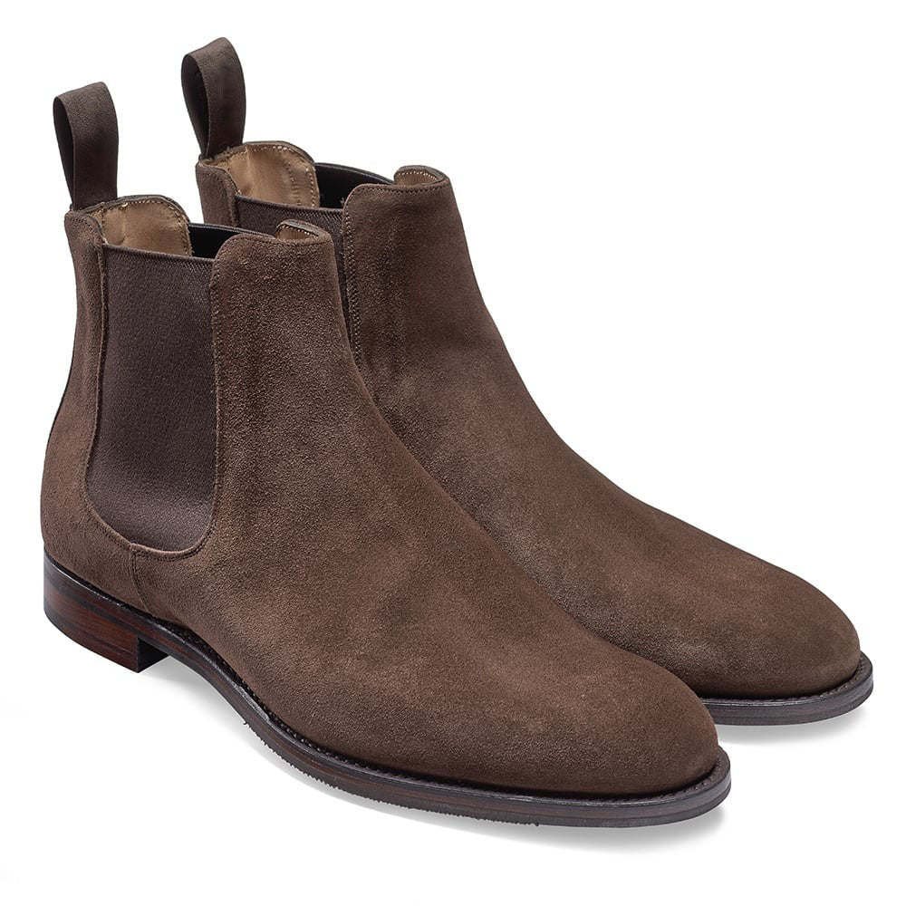 Brown Suede Leather Formal Chelsea Boot Slip On Shoes for Men with Leather Sole. Goodyear Welted Construction Available.