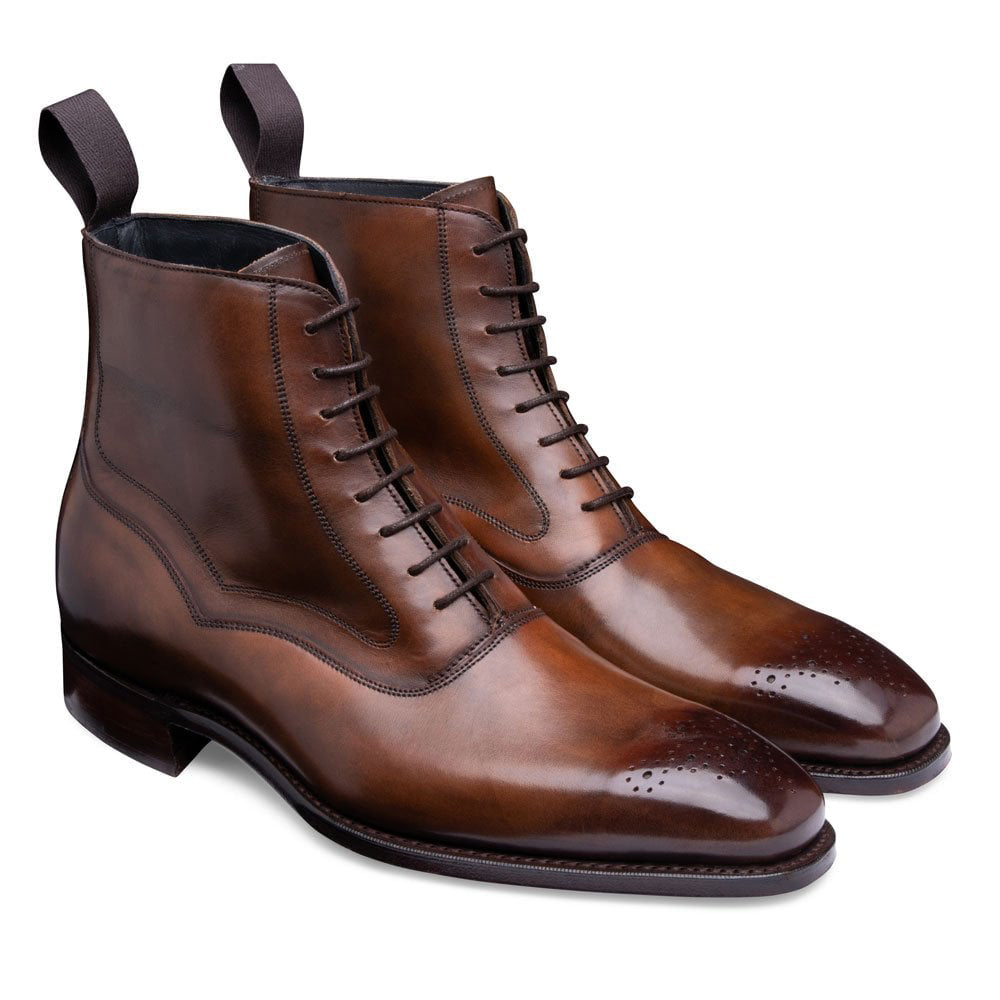 Tan Brown Leather Formal Lace Up Boot Shoes for Men with Leather Sole. Goodyear Welted Construction Available.