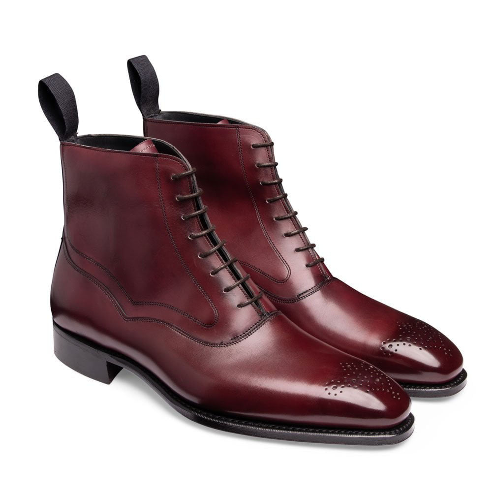 Burgundy Leather Formal Lace Up Boot Shoes for Men with Leather Sole. Goodyear Welted Construction Available.