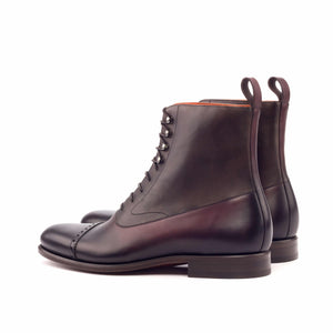 Burgundy Brown Leather Formal Lace Up Toe Cap Boot Shoes for Men with Leather Sole. Goodyear Welted Construction Available.