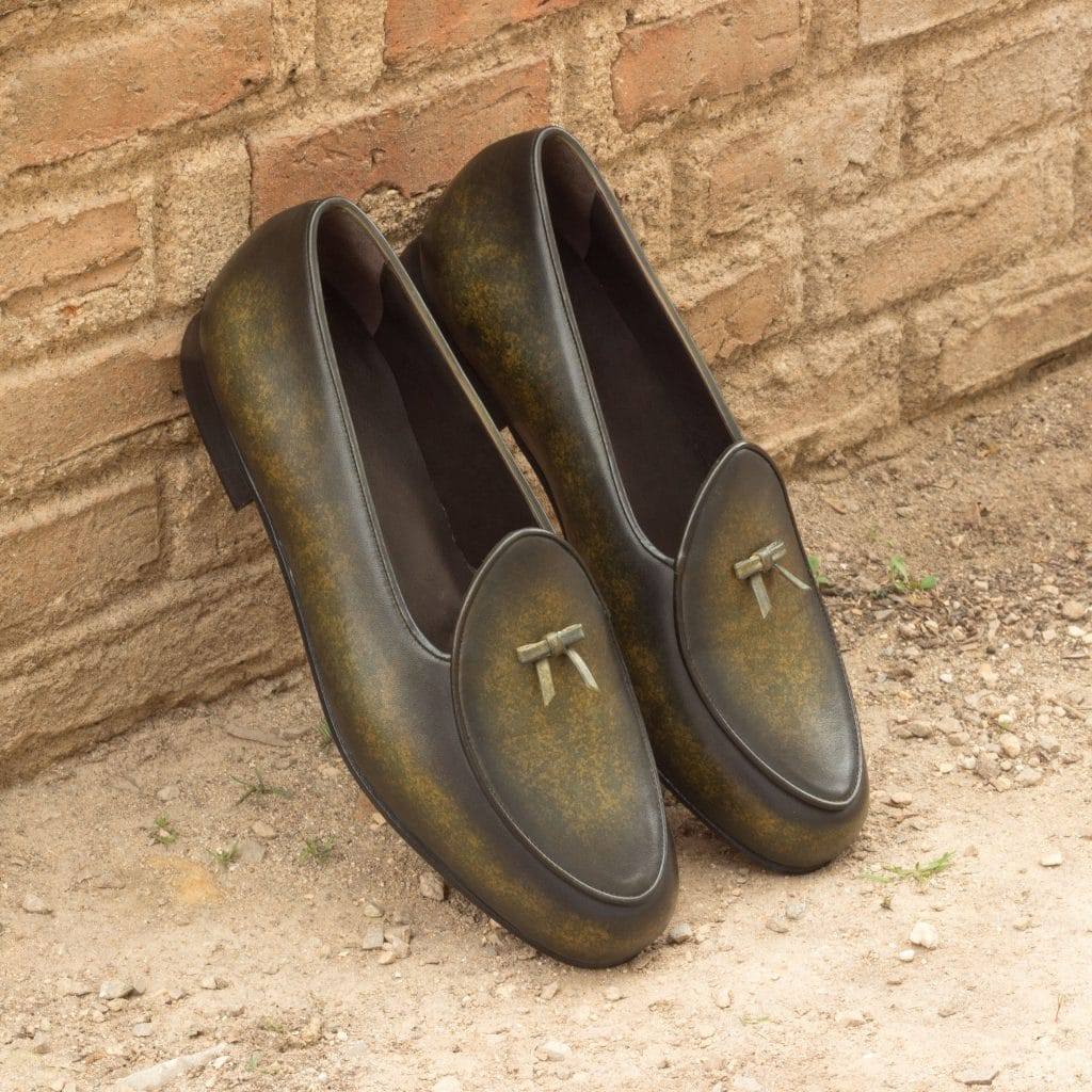 Olive Green Patina Finish Leather Formal Bow Loafer Belgian Slip On Shoes for Men with Leather Sole. Goodyear Welted Construction Available.