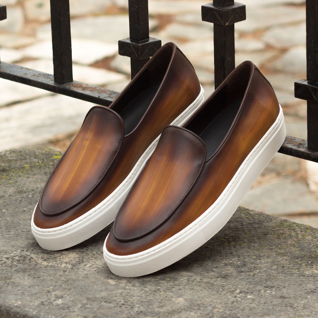 Tan Brown Patina Finish Leather Slip On Loafer Sneaker for Men. White Comfortable Cup Sole.