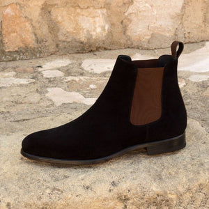 Black Suede Leather Formal Chelsea Boot Slip On Shoes for Men with Leather Sole. Goodyear Welted Construction Available.