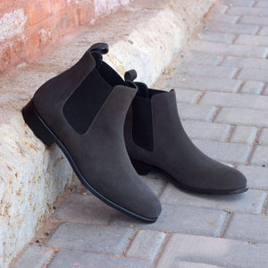 Grey Suede Leather Formal Chelsea Boot Slip On Shoes for Men with Leather Sole. Goodyear Welted Construction Available.