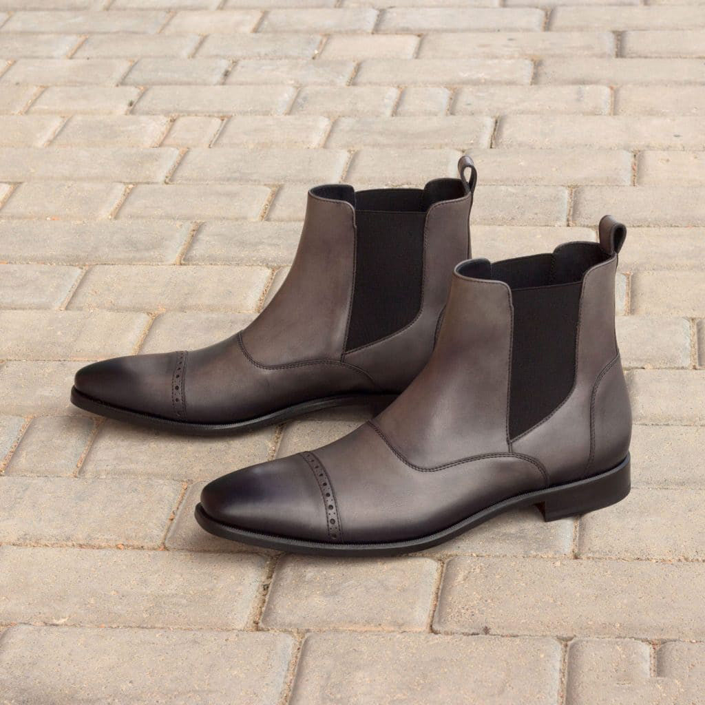 Grey Patina Finish Leather Formal Chelsea Boot Slip On Shoes for Men with Leather Sole. Goodyear Welted Construction Available.