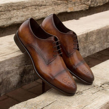 Load image into Gallery viewer, Tan Brown Patina Finish Leather Formal Derby Brogue Lace Up Shoes for Men with Leather Sole. Goodyear Welted Construction Available.