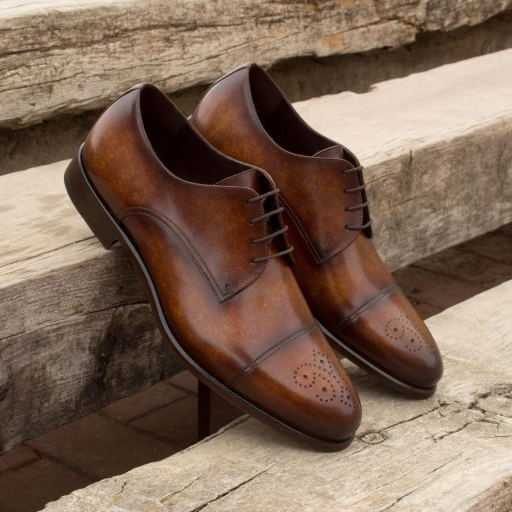 Tan Brown Patina Finish Leather Formal Derby Brogue Lace Up Shoes for Men with Leather Sole. Goodyear Welted Construction Available.