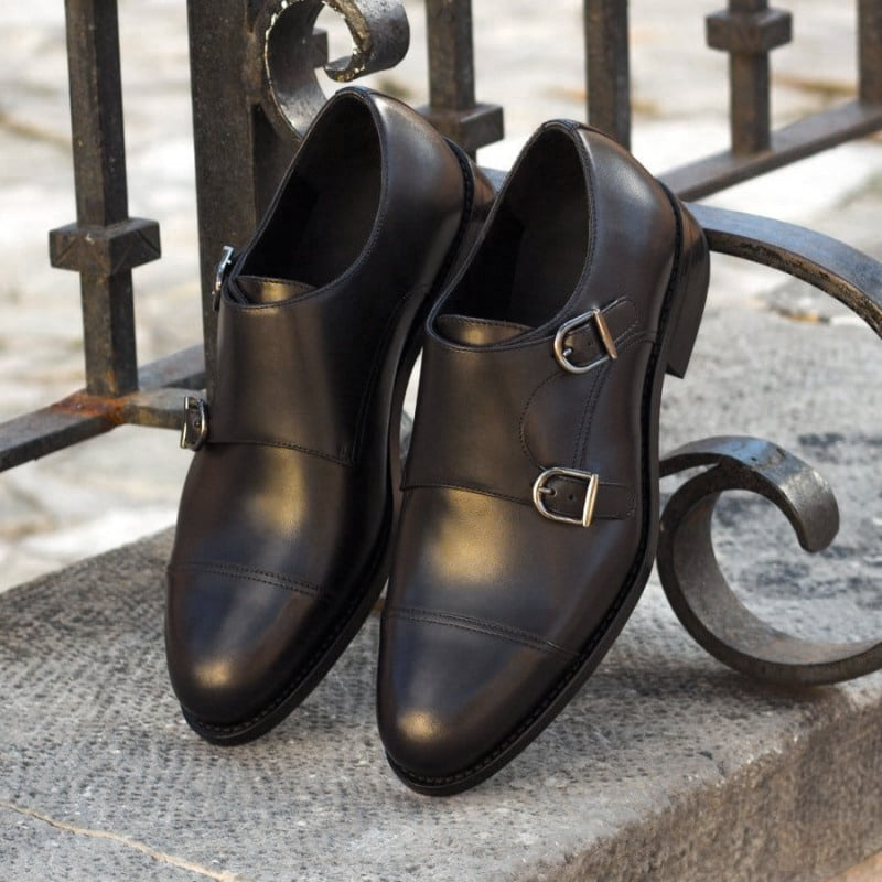 Willow Black Leather Double Monk Strap