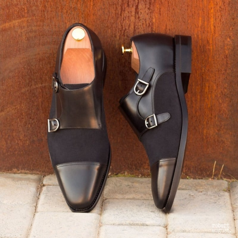 Micah Black Leather & Navy Blue Suede Double Monk Strap