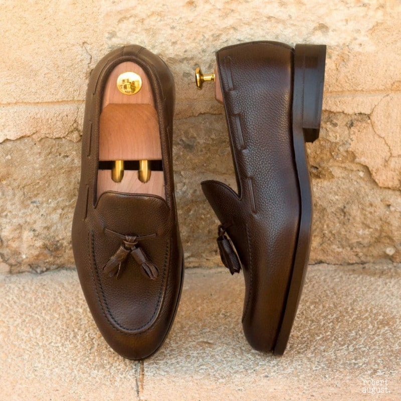 Gabriel Dark Brown Pebble Grain Leather Tassel Loafer
