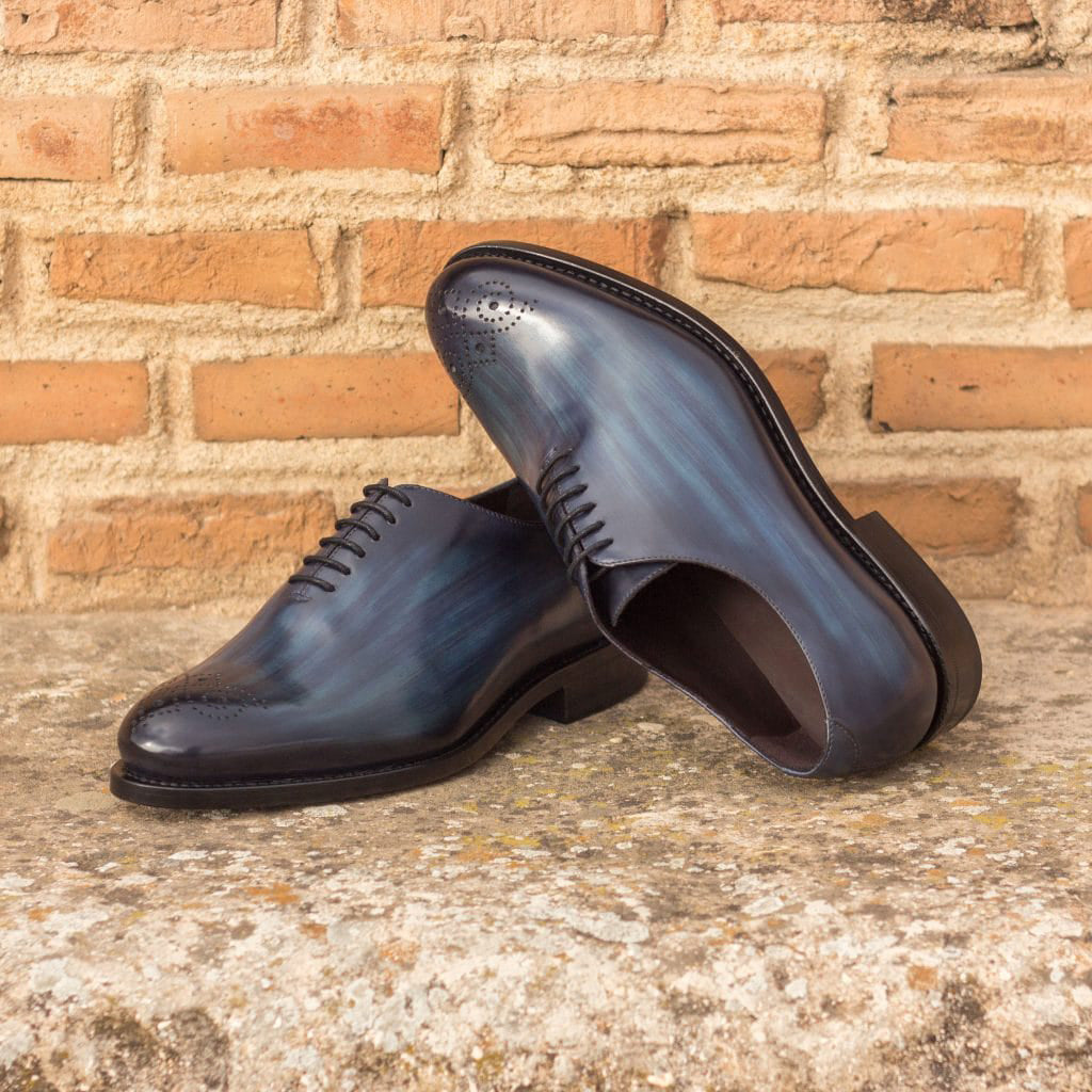 Navy Blue Patina Finish Leather Formal Oxford Wholecut Brogue Lace Up Shoes for Men with Leather Sole. Goodyear Welted Construction Available.