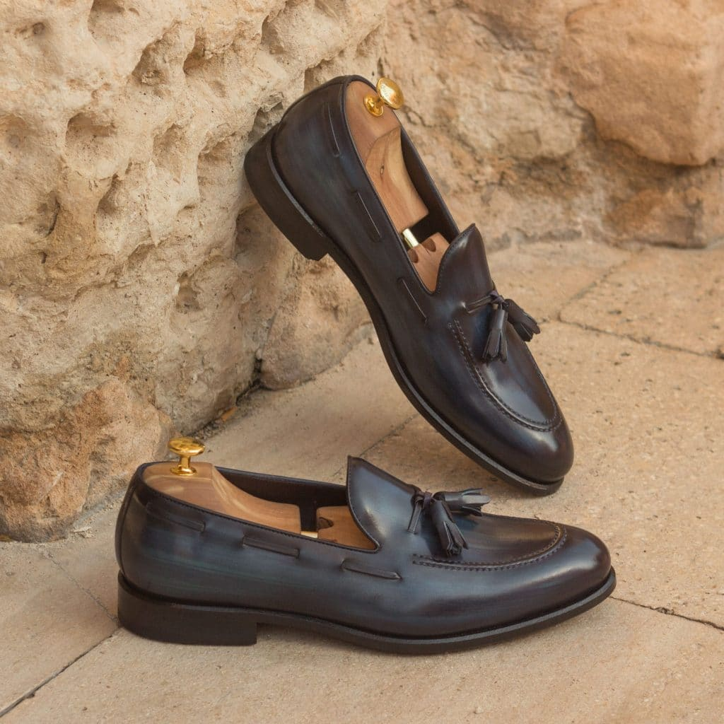 Navy Blue Patina Finish Leather Formal Tassel Loafer Slip On Shoes for Men with Leather Sole. Goodyear Welted Construction Available.