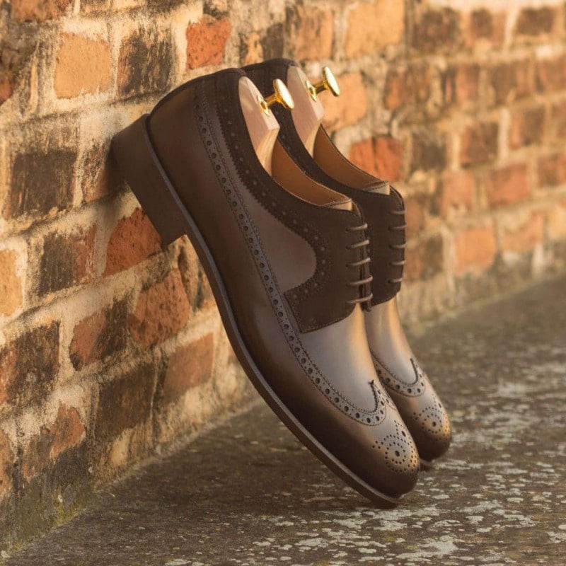 Cario Dark Brown Leather & Suede Derby