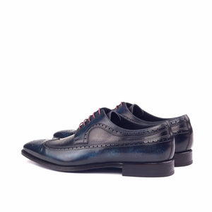 Navy Blue Patina Finish Leather Formal Derby Wingtip Brogue Lace Up Shoes for Men with Leather Sole. Goodyear Welted Construction Available.