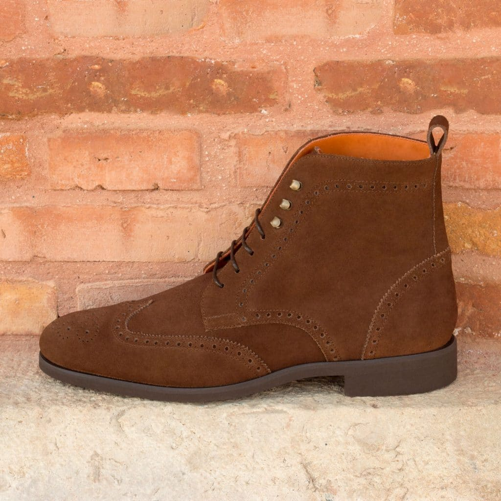 Tan Brown Suede Leather Formal Wingtip Brogue Lace Up Boot Shoes for Men with Leather Sole. Goodyear Welted Construction Available.