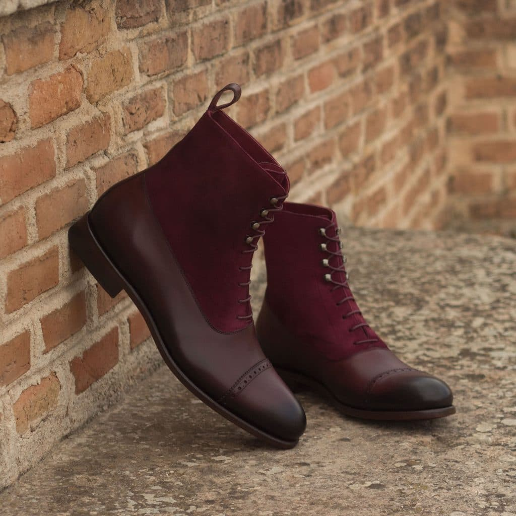 Burgundy Leather Suede Formal Lace Up Toe Cap Boot Shoes for Men with Leather Sole. Goodyear Welted Construction Available.
