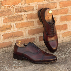 Burgundy Cherry Red Brown Patina Finish Leather Formal Oxford Toe Cap Lace Up Shoes for Men with Leather Sole. Goodyear Welted Construction Available.