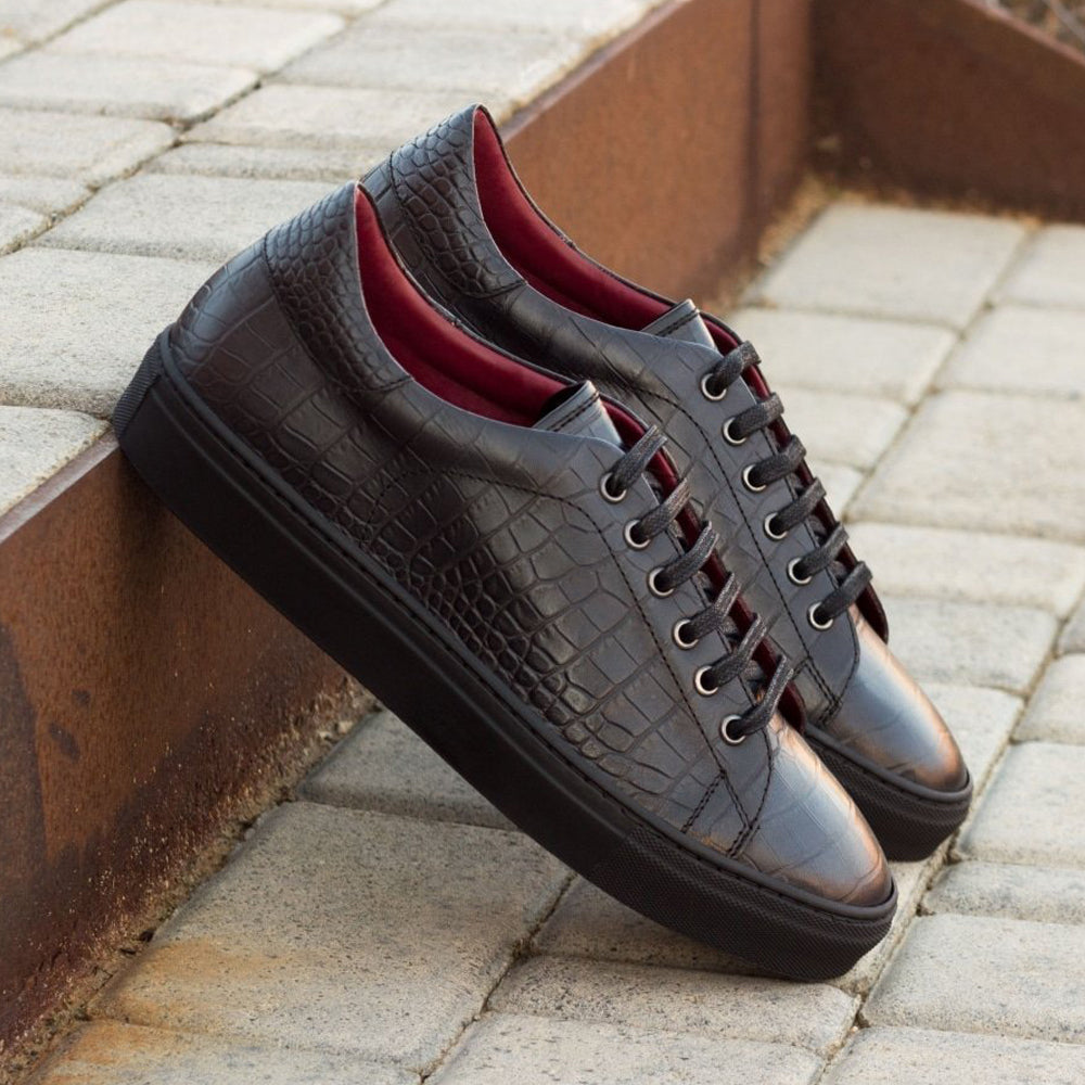 Black Croco Print Leather Low Top Lace Up Sneaker for Men. Black Comfortable Cup Sole.