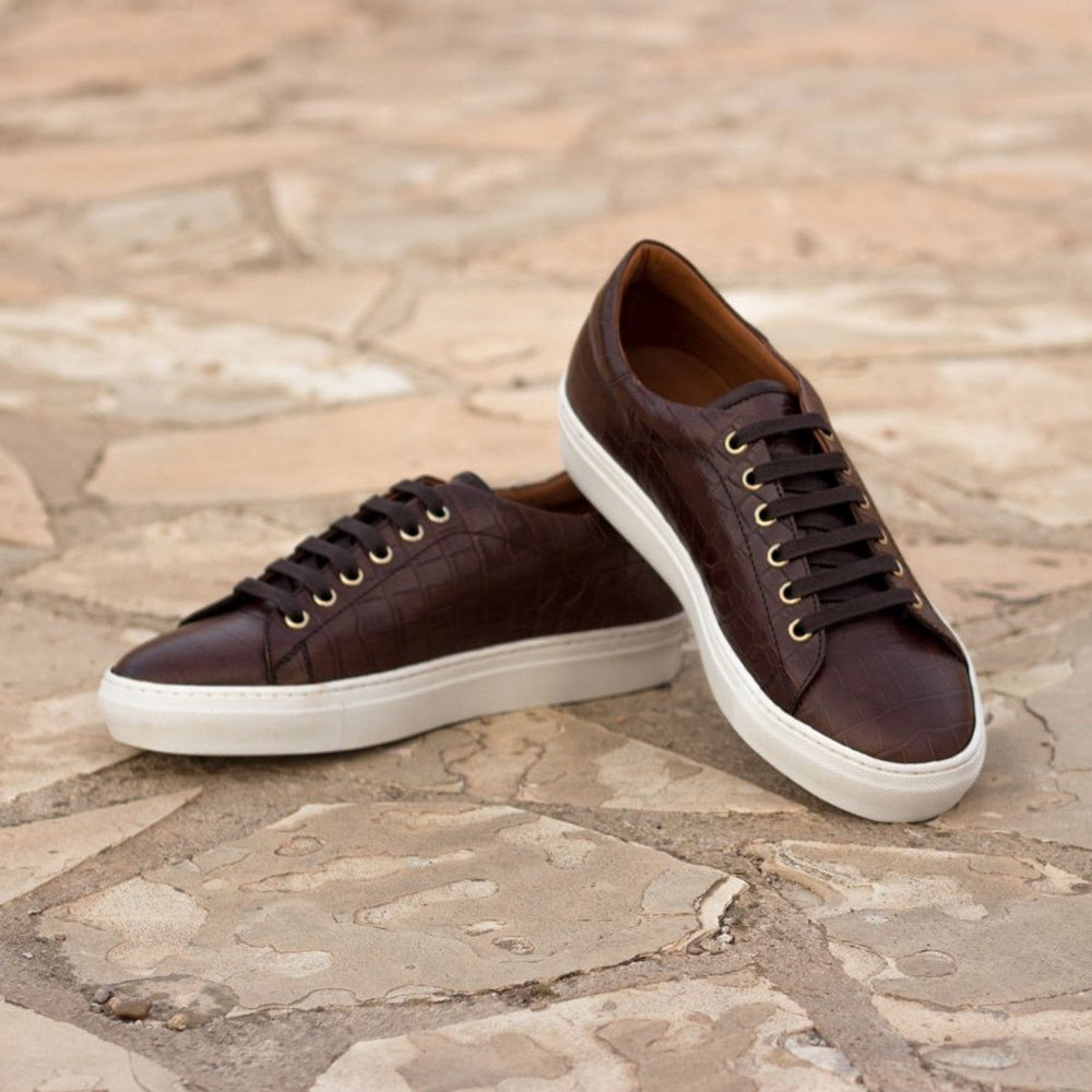 Dark Brown Croco Print Leather Low Top Lace Up Sneaker for Men. White Comfortable Cup Sole.