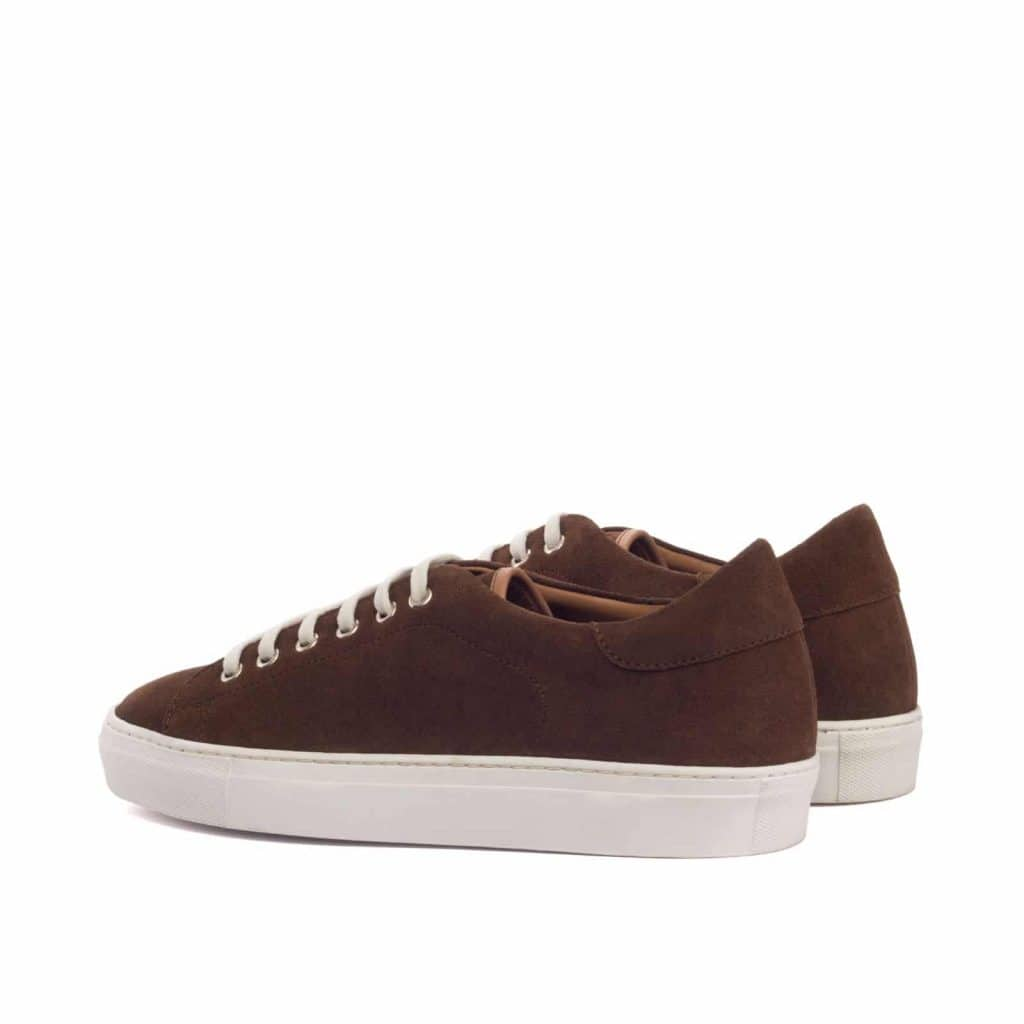 Dark Brown Suede Leather Low Top Lace Up Sneaker for Men. White Comfortable Cup Sole.