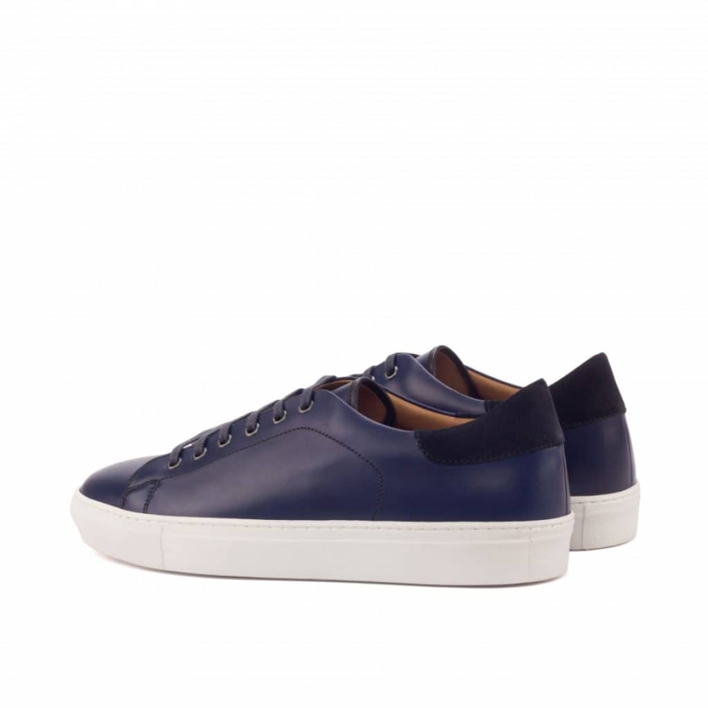Navy Blue Patina Finish Leather Low Top Lace Up Sneaker for Men. White Comfortable Cup Sole.