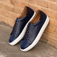 Load image into Gallery viewer, Navy Blue Patina Finish Leather Low Top Lace Up Sneaker for Men. White Comfortable Cup Sole.