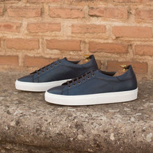 Load image into Gallery viewer, Navy Blue Pebble Grain Print Leather Low Top Lace Up Sneaker for Men. White Comfortable Cup Sole.