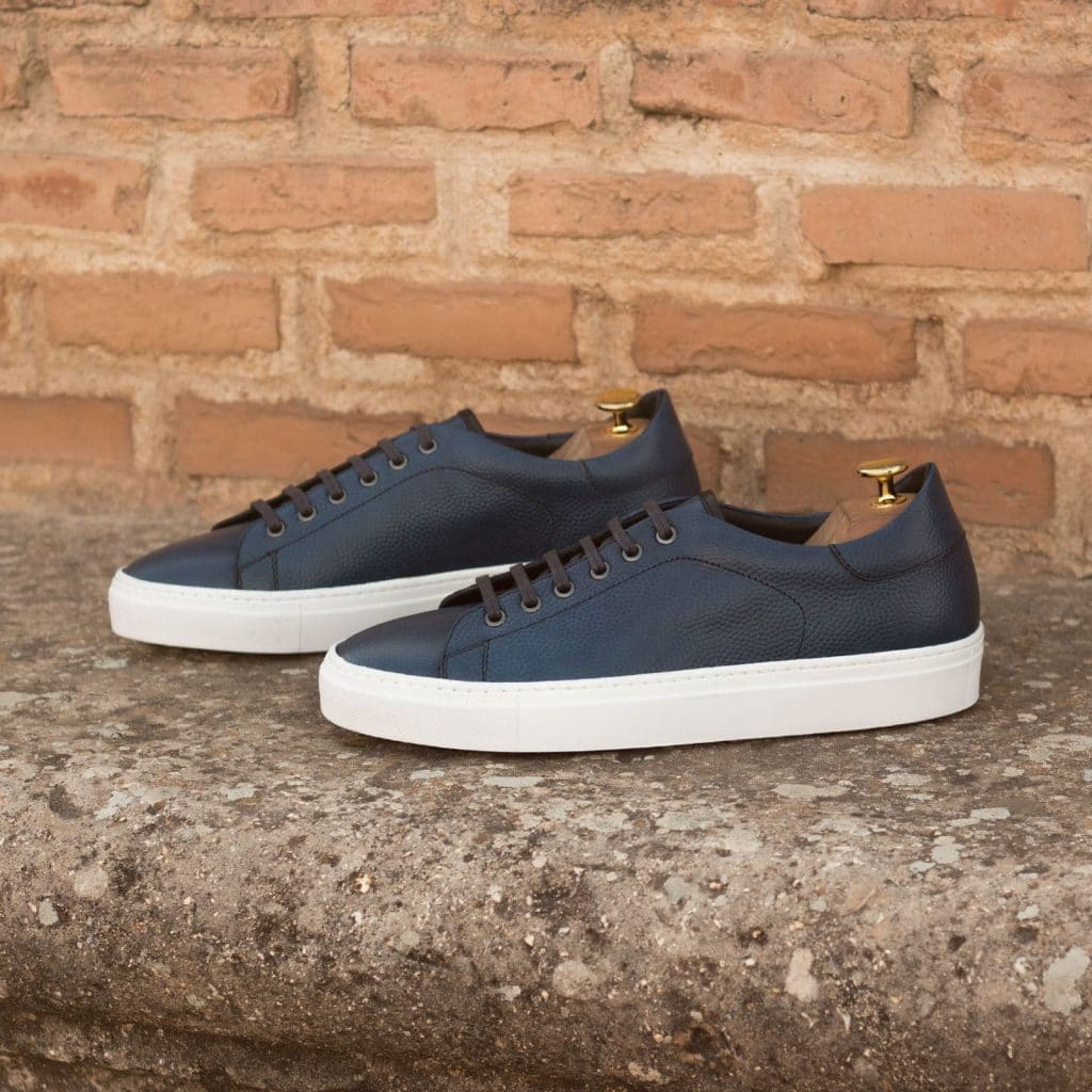Navy Blue Pebble Grain Print Leather Low Top Lace Up Sneaker for Men. White Comfortable Cup Sole.