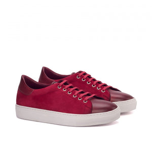Burgundy Leather and Red Suede Low Top Lace Up Sneaker for Men. White Comfortable Cup Sole.