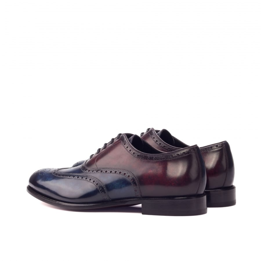 Navy Blue Burgundy Cherry Red Patina Finish Leather Formal Oxford Wingtip Brogue Lace Up Shoes for Men with Leather Sole. Goodyear Welted Construction Available.