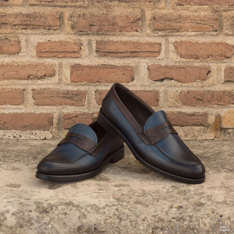 Ciao Navy Blue & Brown Leather Penny Loafer for Women